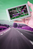 GPS in a man hand Royalty Free Stock Photography