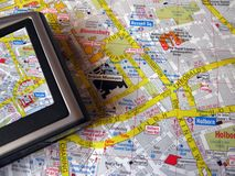 Gps and map Stock Image