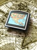 Gps map. Ancient map vs modern device Royalty Free Stock Images