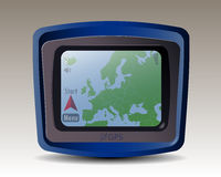 GPS with map of Europe Stock Photos