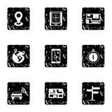 GPS map icons set, grunge style Royalty Free Stock Photo