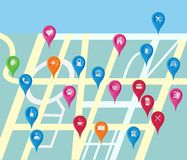 Gps map ikony lokaci ustalony miejsce Zdjęcie Stock
