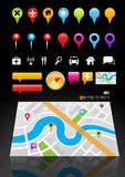 GPS Map Location Markers Royalty Free Stock Photography