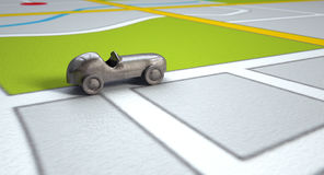 GPS Map With Metal Toy Car Royalty Free Stock Photography