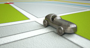 GPS Map With Metal Toy Car Royalty Free Stock Photo