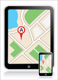 GPS map phone tab Royalty Free Stock Photo