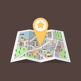GPS map pointer on the map with buildings vector illustration. Big yellow GPS pointer with star. Stock Photo