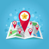 GPS map pointers on the map vector illustration (apple, star, shop, take away coffee, shop trolley, percent, money). Flat design. GPS map pointers on the map Stock Photos