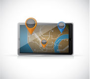 Gps map on a tablet. illustration design Stock Photography