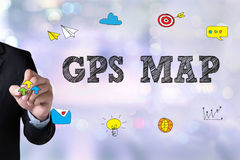 GPS Map to Route Destination Location,Street Map with GPS Icons Stock Photography