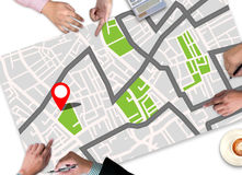 GPS Map to Route Destination Location,Street Map with GPS Icons Royalty Free Stock Photo