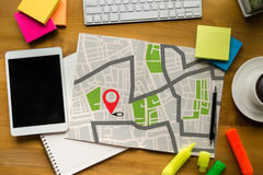 GPS Map to Route Destination Location,Street Map with GPS Icons, Stock Photos
