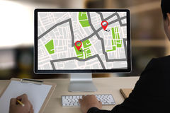 GPS Map to Route Destination network connection Location Street. Map with GPS Icons  Navigation Royalty Free Stock Image