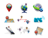 gps map travel concept icon set illustration Stock Photo