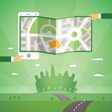 Gps maps and navigation app on phone vector concept Royalty Free Stock Photos