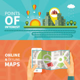 Gps maps and navigation vector concepts set Stock Image