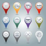 Gps markers set. City infrastructure gps markers icons set with pharmacy taxi bus tram isolated vector illustration Royalty Free Stock Photos
