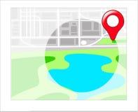 GPS mit Standorten auf Karte Stockbilder