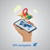 GPS mobil navigering med minnestavlan eller smartphonen vektor illustrationer