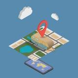 GPS mobil navigering med minnestavlan eller smartphonen royaltyfri illustrationer