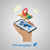 GPS mobile navigation with tablet or smartphone Royalty Free Stock Photo