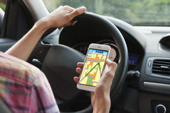 Gps on mobile phone Royalty Free Stock Photo