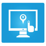 GPS monitoring. Symbol in blue button Stock Images
