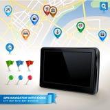 Gps-Nautiker mit Stadtkarte und Set GPS-Ikonen Lizenzfreie Stockfotos