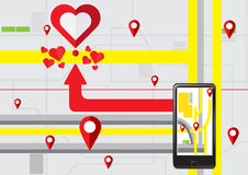 Gps navigate find to love heart. Vector Desing Concept for heart Love in Valentine day Royalty Free Stock Photo
