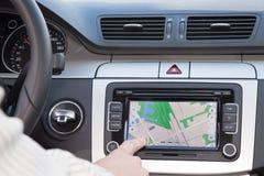 GPS navigatie in luxeauto Stock Foto's
