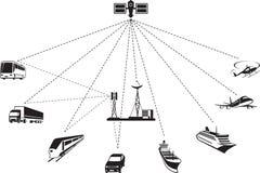 GPS-navigatie van passagier en vrachtvervoer Royalty-vrije Stock Foto