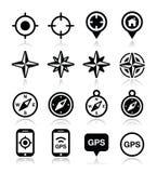 GPS-navigatie, wind nam toe, geplaatste kompaspictogrammen Stock Afbeelding