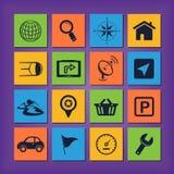 GPS-navigatiepictogrammen Stock Afbeelding