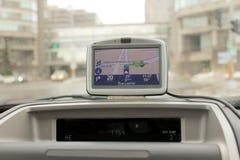 GPS navigation. GPS Navigation system in a traveling car royalty free stock image