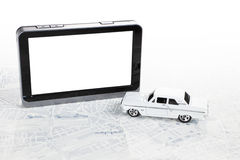 GPS Navigation background. Portable GPS navigation with white muscle car and map stock photography