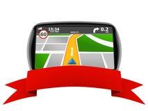 GPS navigation with blank ribbon Royalty Free Stock Photos