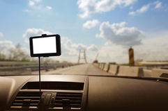 GPS navigation in a car. This photograph represents a GPS navigation system on a car dashboard. Useful file for your brochure about security, travel and other Royalty Free Stock Photo