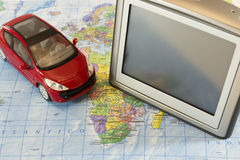 Gps navigation and car Stock Photo
