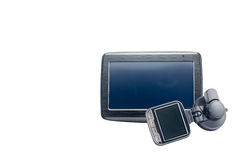 Gps navigation and car security camera isolated Stock Images