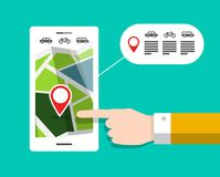 GPS Navigation Concept. GPS Navigation - City Map on Mobile Phone. Cellphone Car, Bike and Bus Line Royalty Free Stock Photos