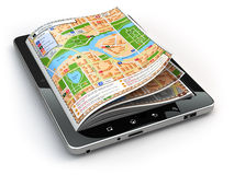 GPS navigation concept. Guide map on the tablet pc screen. Stock Photos