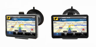 GPS navigation device. Two GPS navigtion device with touchscreen Royalty Free Stock Images