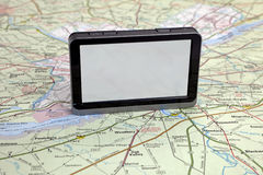 Gps navigation on green map. Royalty Free Stock Photography
