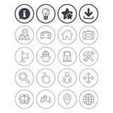 GPS navigation icon. Car, Bus and Ship transport. Information, light bulb and download signs. GPS navigation icons. Car, Bus and Ship transport. You are here Stock Photos