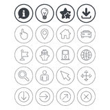 GPS navigation icons. Car and Ship transport. Information, light bulb and download signs. GPS navigation icons. Car and Ship transport. You are here, map Royalty Free Stock Photography