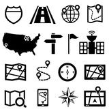GPS and navigation icons Stock Photo
