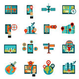 Gps Navigation Icons Set Royalty Free Stock Photography