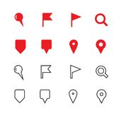 GPS and Navigation icons on white background. Royalty Free Stock Photo