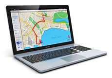 GPS navigation on laptop. Creative abstract GPS satellite navigation, travel, tourism and location route planning business concept: modern black glossy laptop or Stock Photography