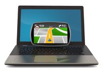 GPS navigation with laptop Royalty Free Stock Image